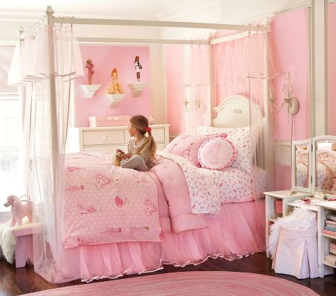 Girl-Bedroom-Paint-Ideas-Pink-and-White-Paint-Combination-with-Wall-Mount-Chandelier-Barbie-Collection-Cabinet-Display-Polkadot-Curtain