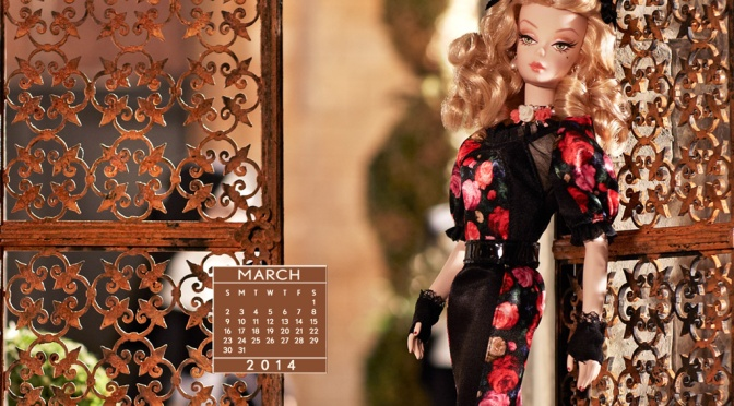 Desktop Calendar of Barbie Collector – March 2014