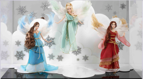 Heavenly Trio of Barbie Angels & Display Case