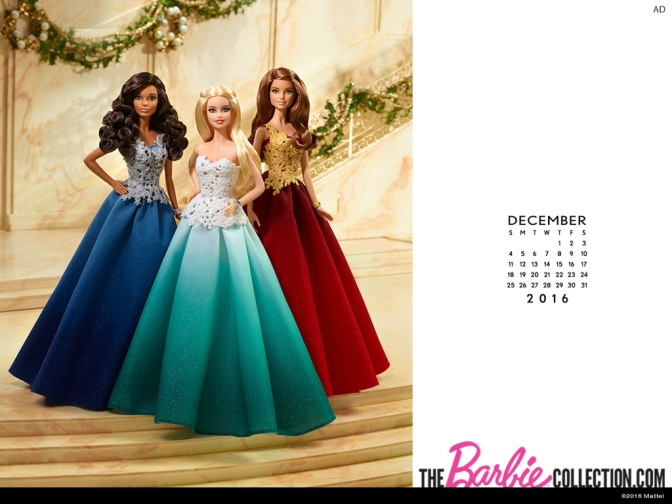 Calendario oficial de The Barbie Collection: diciembre de 2016