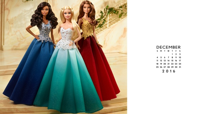 Calendario oficial de The Barbie Collection: diciembre de 2016