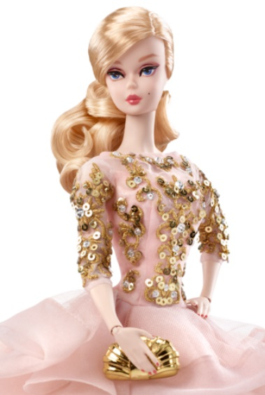 Blush & Gold Cocktail Dress Barbie Doll 1