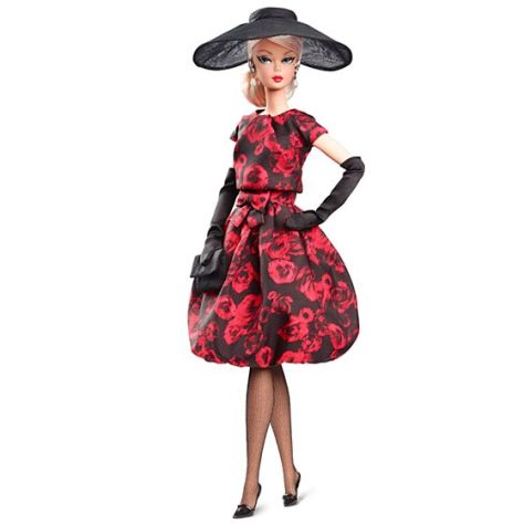 Elegant Rose Cocktail Dress Doll