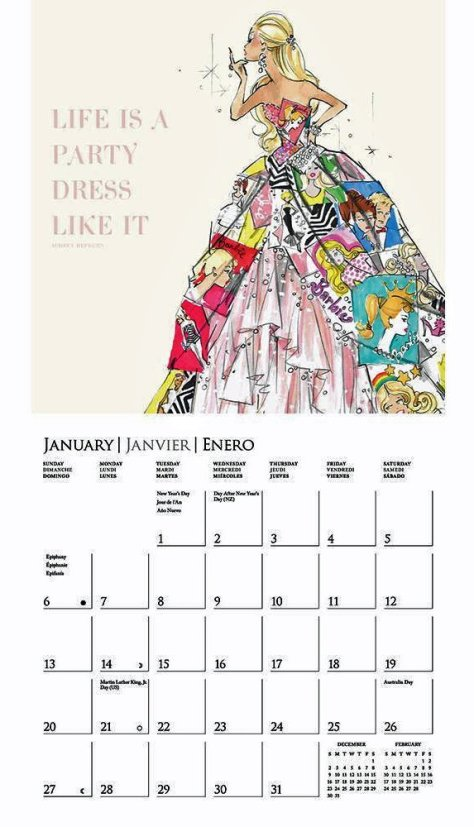 graphique calendar barbie february